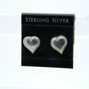 NOS Sterling Silver Puffy Heart Post Earrings